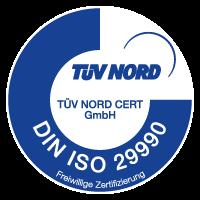 Logo TÜV Zertifizierung DIN ISO 29990