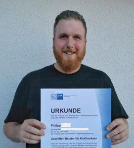 Philipp Meister für Kraftverkehr mit Zeugnis